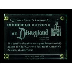 """Autopia"" Driver's License Etched Glass Paperweight."