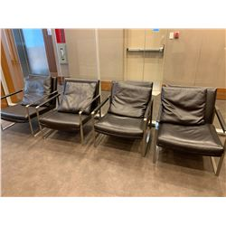 4 x Leather Chairs in Reception