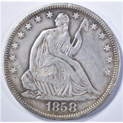 1858-S SEATED HALF DOLLAR, AU