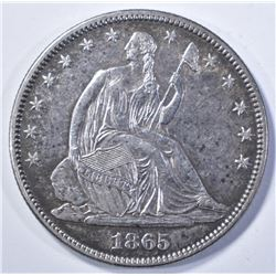 1865 SEATED HALF DOLLAR, AU/BU CIVIL WAR DATE