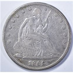 1869 SEATED HALF DOLLAR, VF/XF