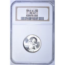 1940-S WASHINGTON QUARTER, NGC MS-67 BLAST WHITE