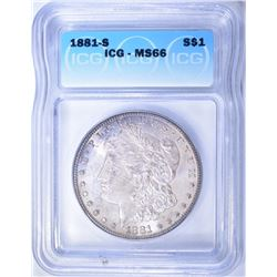1881-S MORGAN DOLLAR  ICG MS-66