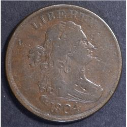 1804 DRAPED BUST HALF CENT, XF marks on obverse
