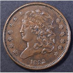 1832 CLASSIC HEAD HALF CENT, AU/BU