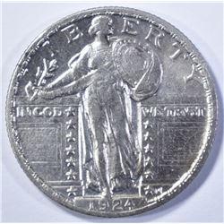 1924 STANDING LIBERTY QUARTER, AU+