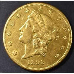 1892-CC $20 GOLD BU OLD CLEANING