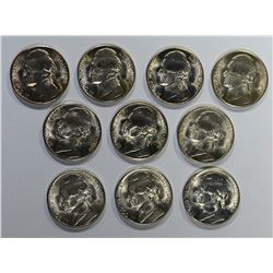 10-BU 1944-S SILVER JEFFERSON NICKELS