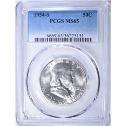 1954-S FRANKLIN HALF DOLLAR  PCGS MS-65