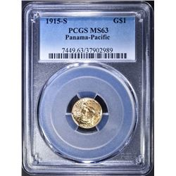 1915-S $1 GOLD PAN-PAC PCGS MS-63