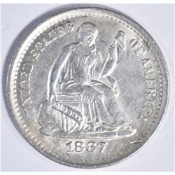 1867 S SEATED HALF DIME  CH BU SCARCE