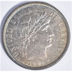 1901 O BARBER DIME  CH BU  COLOR