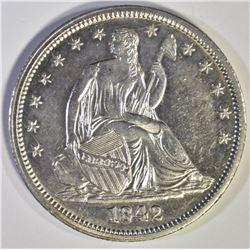 1842 SEATED HALF DOLLAR, CH BU PL