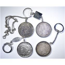 3-SILVER DOLLAR KEY CHAINS & 1-NECKLACE