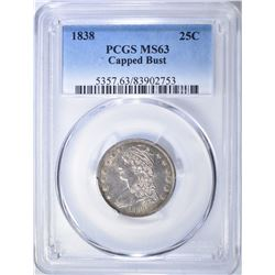 1838 CAPPED BUST QUARTER  PCGS MS-63 FLASHY!