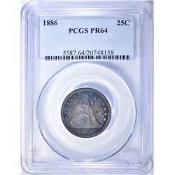 1886 SEATED LIBERTY QUARTER  PCGS PR-64