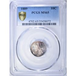 1889 SEATED LIBERTY DIME  PCGS MS-65
