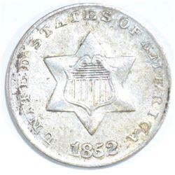 1852 3-CENT SILVER, XF/AU