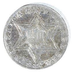 1857 3-CENT SILVER, AU