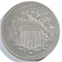 1866 WITH RAYS SHIELD NICKEL, AU/BU