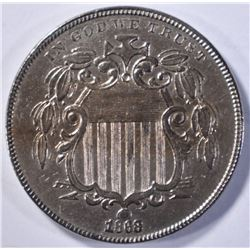 1868 SHIELD NICKEL  CH BU