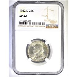 1932-D WASHINGTON QUARTER, NGC MS-61 NICE!
