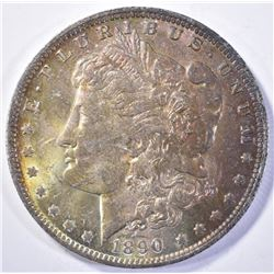 1890-O MORGAN DOLLAR, CH BU RAINBOW COLORS OBVERSE