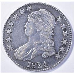 1824 BUST HALF DOLLAR, XF+