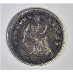 1855-O WITH ARROW SEATED HALF DIME, AU/BU