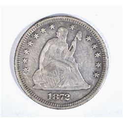1872 SEATED QUARTER, XF KEY DATE!!