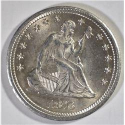 1876-CC SEATED QUARTER, CH BU FLASHY!