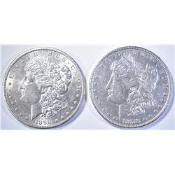 1878 7 TF AU & 1890-S AU/BU MORGAN DOLLARS