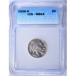 1926-D BUFFALO NICKEL  ICG MS-64  SCARCE!!