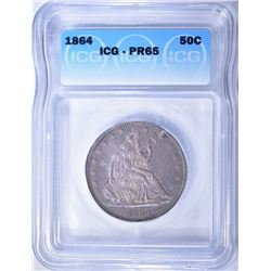 1864 SEATED LIBERTY HALF DOLLAR  ICG PR-65