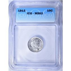 1913 BARBER DIME  ICG MS-63  BLAST WHITE
