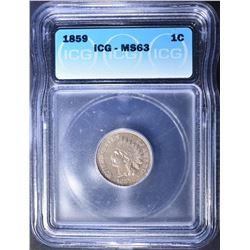 1859 INDIAN HEAD CENT  ICG MS-63  NICE!!