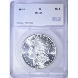 1880-S MORGAN DOLLAR SEGS GEM BU  PROOF LIKE