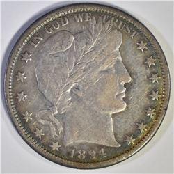 1894-S BARBER HALF DOLLAR, XF+