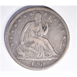 1861-S SEATED HALF DOLLAR, XF