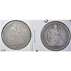 1871-S & 1873 SEATED HALF DOLLAR, VG