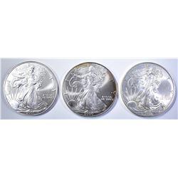 2000, 01 & 08 BU AMERICAN SILVER EAGLES