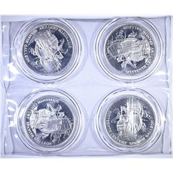 "4-ONE OUNCE .999 SILVER ""SPANISH GALLEON"" ROUNDS"