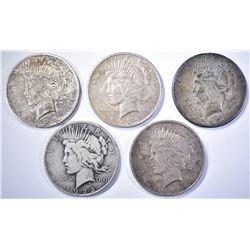 5-LOW GRADE PEACE DOLLARS