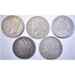 5-LOW GRADE SILVER DOLLARS