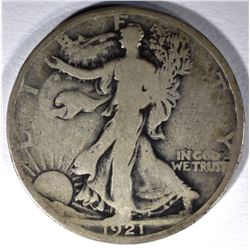 1921 WALKING LIBERTY HALF DOLLAR, VG/FINE SCARCE!