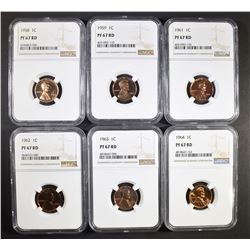 6 LINCOLN CENTS NGC PF-67 RD
