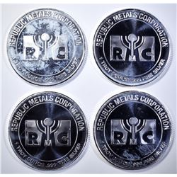 4-REPUBLIC METALS 1oz .999 SILVER ROUNDS