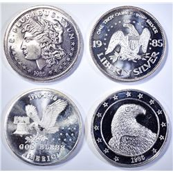 4-DIFFERENT 1oz .999 SILVER ROUNDS