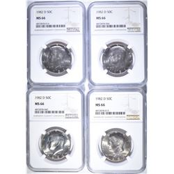 (4) 1982 D KENNEDY HALF DOLLARS NGC MS-66