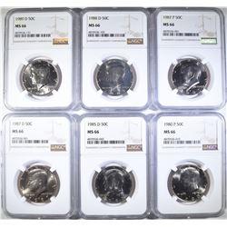 1980 P, 85 D, 87 D, 87 P, 88 D, 89 D KENNEDY HALF
